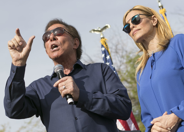 Steve Wynn and his wife, Andrea, speak to a crowd at a campaign rally outside the Summerlin campaign headquarters of U.S. Rep. Cresent Hardy, R-Nev., in Las Vegas on Oct. 8, 2016. Richard Brian/La ...