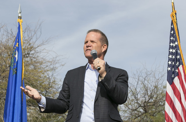 Lt. Gov. Mark Hutchison speaks at a campaign rally outside the campaign headquarters of Cresent Hardy in Summerlin in west Las Vegas on Oct. 08, 2016. Richard Brian/Las Vegas Review-Journal Follow ...