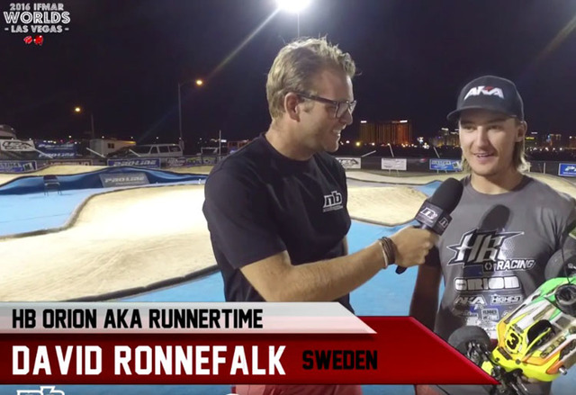 Screenshot of David Ronnefalk being interviewed after winning the International Federation of Model Auto Racing in Las Vegas Saturday. (YouTube)