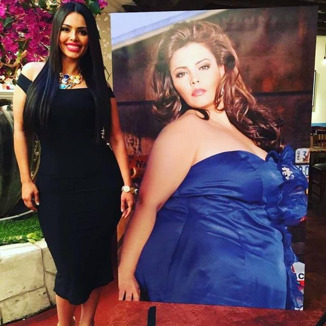Rosie Mercado stands next to a photo of herself when she weighed 410 pounds. Mercado, a plus-size model, lost more than 250 pounds. (Special to View)
