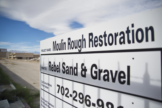A construction sign is seen at the Moulin Rouge restoration site near Bonanza Road and Martin Luther King Boulevard in Las Vegas on Friday, Oct. 14, 2016. Daniel Clark/Las Vegas Review-Journal Fol ...