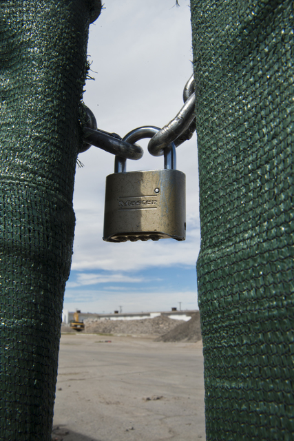 A lock keeps a gate closed at the Moulin Rouge restoration site near Bonanza Road and Martin Luther King Boulevard in Las Vegas on Friday, Oct. 14, 2016. Daniel Clark/Las Vegas Review-Journal Foll ...