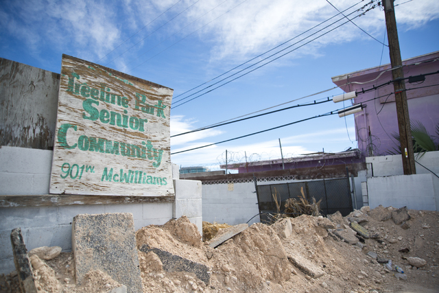 A sign for a senior community is seen at the Moulin Rouge restoration site near Bonanza Road and Martin Luther King Boulevard in Las Vegas on Friday, Oct. 14, 2016. Daniel Clark/Las Vegas Review-J ...