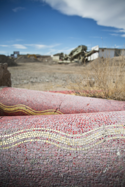 Pillars decorated with red and gold tile lie in the dirt at the Moulin Rouge restoration site near Bonanza Road and Martin Luther King Boulevard in Las Vegas on Friday, Oct. 14, 2016. Daniel Clark ...