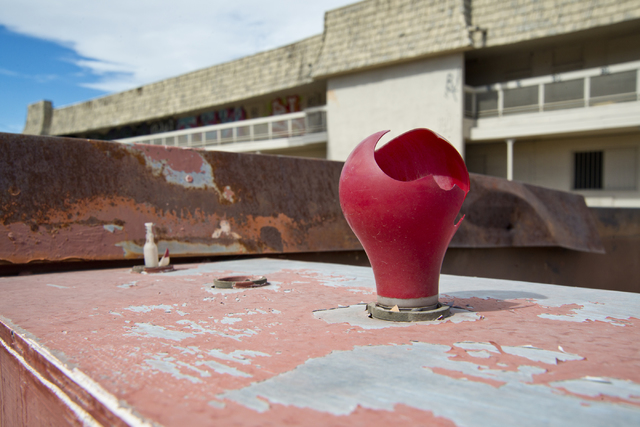 A broken bulb remains in a fallen sign at the Moulin Rouge restoration site near Bonanza Road and Martin Luther King Boulevard in Las Vegas on Friday, Oct. 14, 2016. Daniel Clark/Las Vegas Review- ...