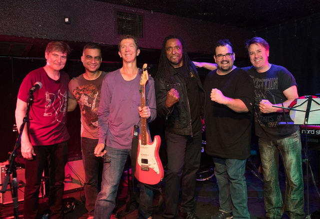 The bolstered Jimmy McIntosh Band from Wednesday night's Sand Dollar Lounge show: Tim Ries, Pepe Jimenez, McIntosh, Bernard Fowler, Bill Zappia and Keith Hubacher. (Photo Erik Kabik/Retna)(
