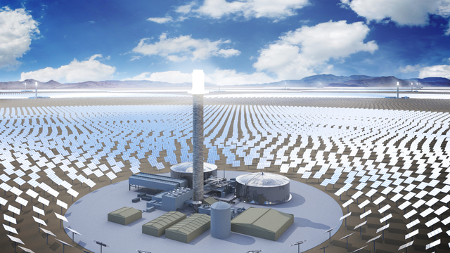 An artist rendering shows SolarReserve's Sandstone project, a $5 billion, 10-tower concentrated solar array the California-based company plans to build in Nevada. (Courtesy of SolarReserve)