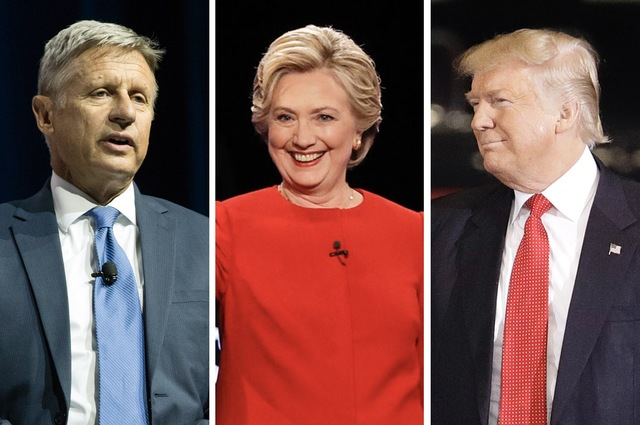 Gary Johnson, Hillary Clinton, and Donald Trump are pictured in this composite image. (Johnson photo by Erik Verduzco/Las Vegas Review-Journal. Clinton and Trump photos by AP)