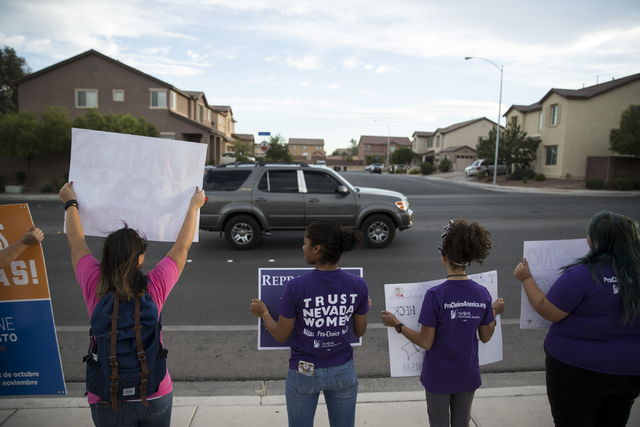 Supporters rally for Democratic U.S. Senate candidate Catherine Cortez Masto before the Nevada U.S. Senate debate at Canyon Springs High School on Friday, Oct. 14, 2016, in North Las Vegas. Erik V ...