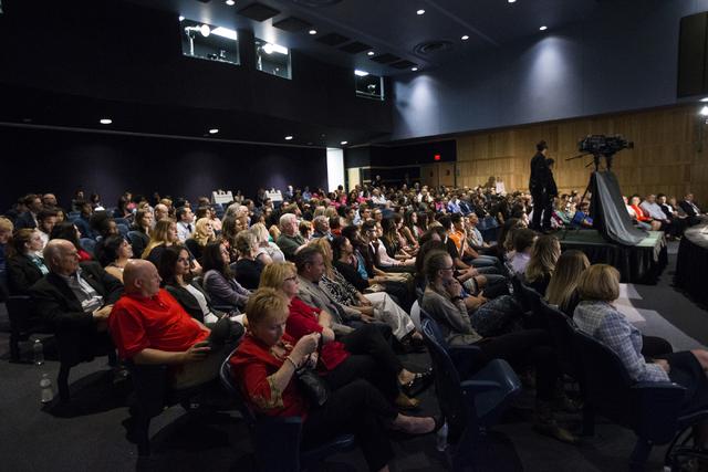 Audience members watch the Nevada Senatorial Debate at Canyon Springs High School on Friday, Oct. 14, 2016, in North Las Vegas. The debate was televised statewide. Erik Verduzco/Las Vegas Review-J ...