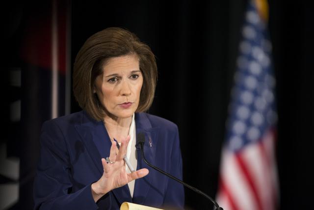 Democratic U.S. Senate candidate Catherine Cortez Masto speaks during the Nevada Senatorial Debate at Canyon Springs High School on Friday, Oct. 14, 2016, in North Las Vegas. The debate between Co ...