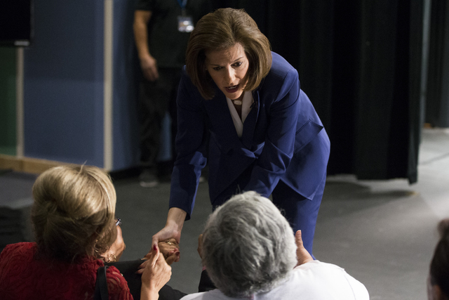 Democratic U.S. Senate candidate Catherine Cortez Masto greets supporters after the Nevada Senatorial Debate at Canyon Springs High School on Friday, Oct. 14, 2016, in North Las Vegas. The debate  ...