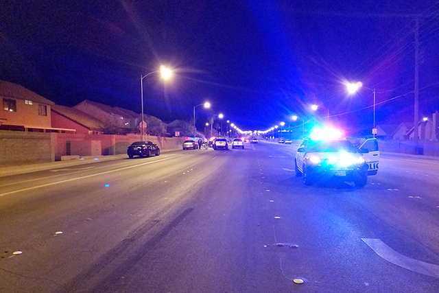 Three teenagers were wounded after being shot Monday night, Oct. 31, 2016, in the 6300 block of Carey Avenue . (Mike Shoro/Las Vegas Review-Journal)