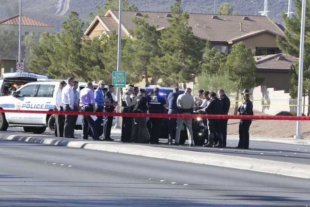 Police activity on Gibson Road near Auto Show Drive in Henderson, Wednesday, Oct. 19, 2016. (Bizuayehu Tesfaye/Las Vegas Review-Journal Follow @bizutesfaye)