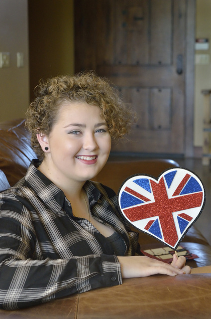 Jordyn Preston, who got a liver transplant in 2015, is shown at her home in Las Vegas Sept. 9 with a prop from a party where it was announced that Make-A-Wish will be sending her and her family to ...