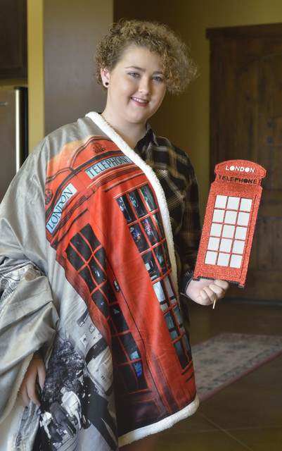 Jordyn Preston, a Centennial Hills High School student who got a liver transplant in 2015, is shown at her home in Las Vegas Sept. 9 with some of the props from a party where it was announced that ...