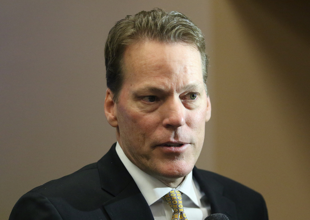 Craig Cavileer, executive vice president of Majestic Realty, speaks to the news media at a meeting of the Southern Nevada Tourism Infrastructure Committee at UNLV's Stan Fulton Building Thursday,  ...
