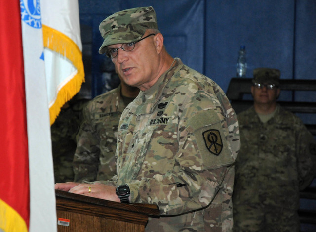Brig. Gen. Bruce E. Hackett, commander of the 451st Sustainment Command (Expeditionary), speaks during a transfer of authority ceremony between the 17th Sustainment Brigade and the 369th Sustainme ...