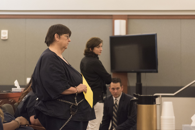 Roxanne Sparks, left, a former bookkeeper accused of transferring more than $200,000 between two of her clients' accounts, appears for her sentencing at the Regional Justice Center in Las Vegas, T ...