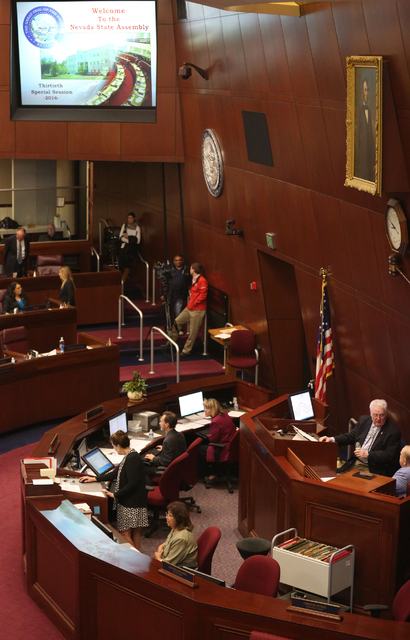 Nevada Legislators gather during day one of the 30th Special Session of the Nevada Legislature, Monday, Oct. 10, 2016 in Carson City, Nev. (David Guzman/Las Vegas Review-Journal Follow @davidguzma ...
