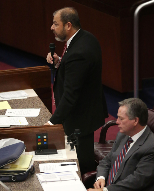 Majority Floor Leader Paul Anderson speaks during day one of the 30th Special Session of the Nevada Legislature, Monday, Oct. 10, 2016 in Carson City, Nev. (David Guzman/Las Vegas Review-Journal F ...