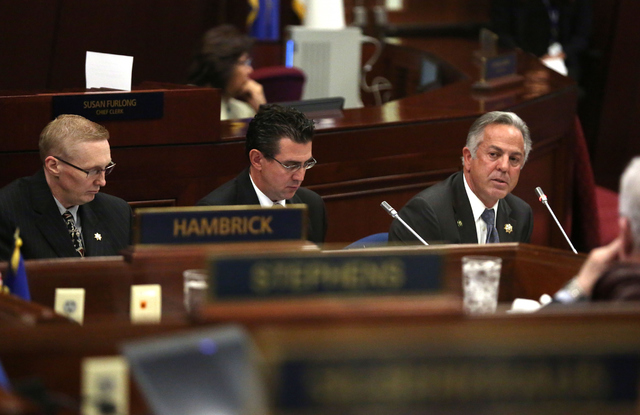 Clark County Sheriff Joseph Lombardo, right, speaks during day one of the 30th Special Session of the Nevada Legislature, Monday, Oct. 10, 2016 in Carson City, Nev. (David Guzman/Las Vegas Review- ...