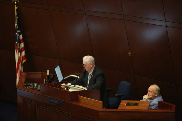 Speaker of the Assembly John Hambrick calls the 30th Special Session of the Nevada Legislature into order, Monday, Oct. 10, 2016 in Carson City, Nev. (David Guzman/Las Vegas Review-Journal Follow  ...