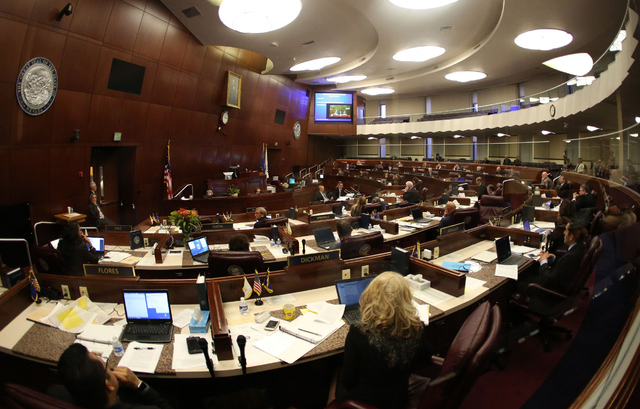 Nevada Legislators gather during day one of the 30th Special Session of the Nevada Legislature, Monday, Oct. 10, 2016 in Carson City, Nev. (David Guzman/Las Vegas Review-Journal Follow @davidguzma ...