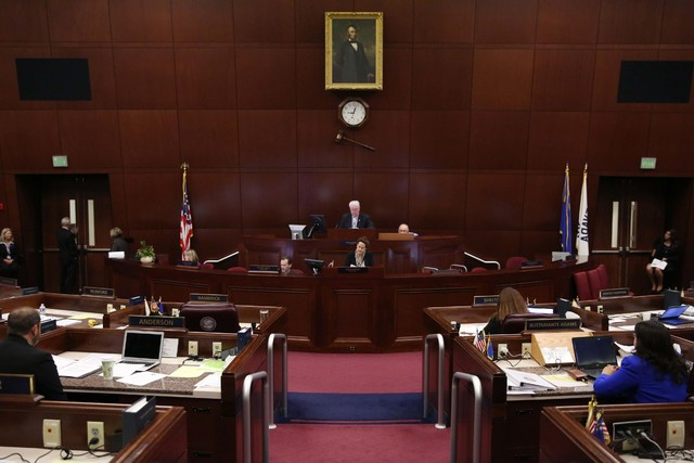 The special session of the Nevada Legislature to consider financing for a football stadium and Las Vegas Convention Center upgrades opens Monday, Oct. 10, 2016, in Carson City. (David Guzman/Las V ...