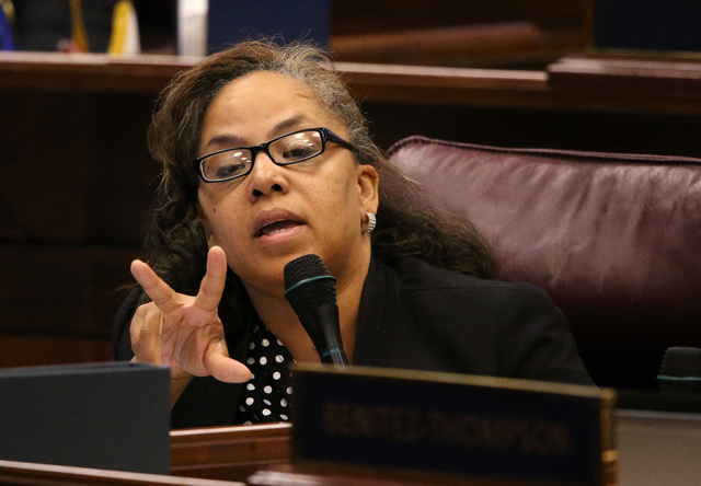 Nevada Assemblywoman Dina Neal, D-North Las Vegas, asks questions about the proposed stadium and convention center projects in Las Vegas during a special session at the Legislative Building in Car ...