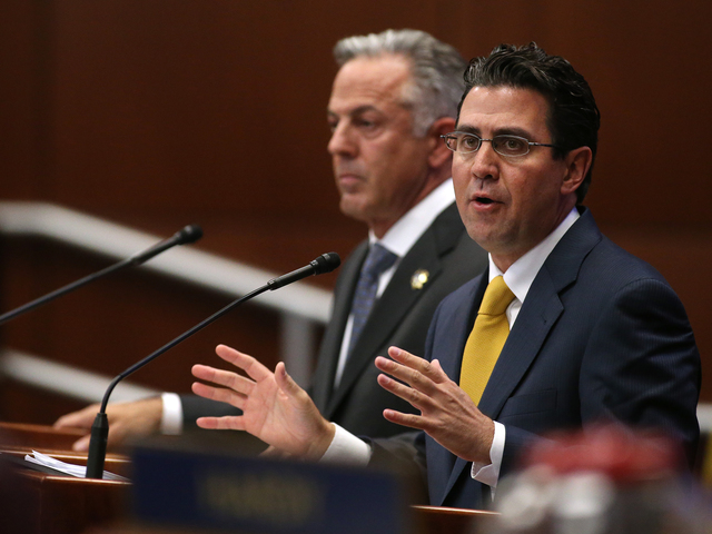 Clark County Sheriff Joseph Lombardo, left, and Jeremy Aguero, with Applied Analysis, answer questions from lawmakers during a special session at the Legislative Building in Carson City, Nev. on T ...