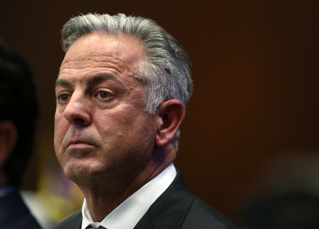 Clark County Sheriff Joseph Lombardo listens to testimony during a special session at the Legislative Building in Carson City, Nev. on Thursday, Oct. 13, 2016. Lawmakers are considering a measure  ...