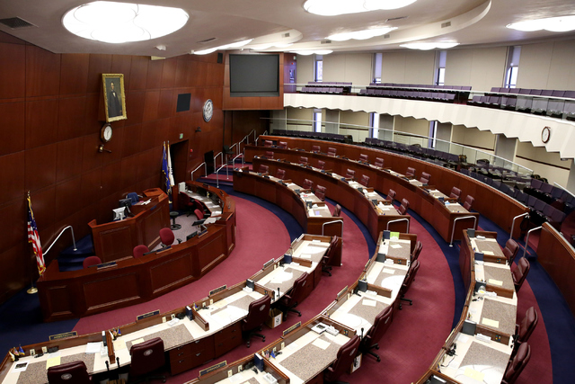 The Assembly Chamber is pictured inside the Nevada Legislative Building in Carson City, Nev., Oct. 9, 2016. Gov. Brian Sandoval summoned Nevada lawmakers to Carson City for a special legislative s ...