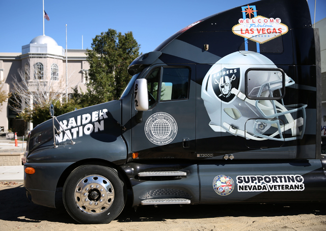 A Las Vegas Raiders themed 18-wheeler owned by Tommy White, an official with the Laborers International Union of North America Local 872, is seen parked near the Nevada Legislative Building in Car ...