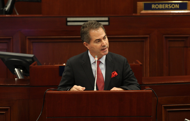 UNLV president Len Jessup talks about how the university could benefit from the legislature approving the stadium proposal at the special session in Carson City on Oct. 10, 2016. Heidi Fang/Las Ve ...