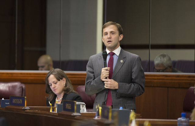 Nevada Assembly member Elliot Anderson, a Democrat, explains why he voted against Senate Bill 1 during the special session at the Nevada Legislature in Carson City on Friday, Oct. 14, 2016. (Heidi ...