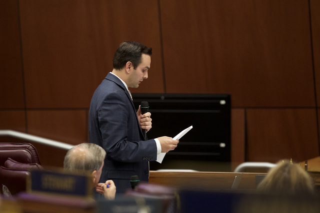 Republican Nevada Assembly member John Hambrick reads an amendment to Senate Bill 1 on Friday, Oct. 14, 2016 at the special session in Carson City. (Heidi Fang/Las Vegas Review-Journal)