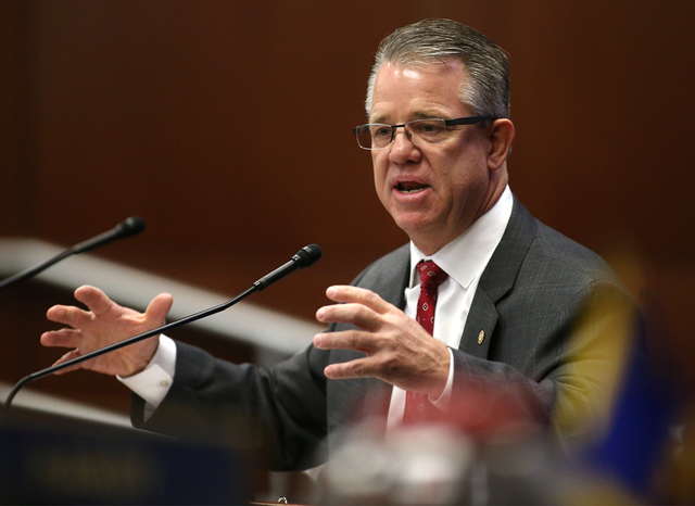 William Stanley, with the Southern Nevada Building & Construction Trade Council, speaks during a Committee of the Whole during a special session at the Nevada Legislature in Carson City, Nev.  ...