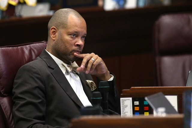 Nevada Senate Minority Leader Aaron Ford, D-Las Vegas, listens to public comment during a special session at the Nevada Legislature in Carson City, Nev. on Tuesday, Oct. 11, 2016.  Lawmakers are c ...