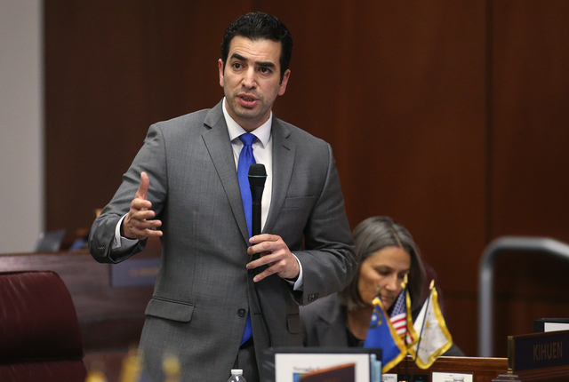 Nevada Sen. Ruben Kihuen, D-Las Vegas, speaks on the Senate floor in opposition to a proposal to help fund a football stadium and convention center improvements in Las Vegas during a special sessi ...