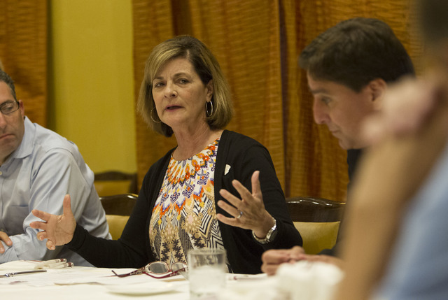 UNLV athletic director Tina Kunzer-Murphy discusses the state of Rebels athletics with members of the local media during a lunch at Ferraro's Italian Restaurant located at 4480 Paradise Road in La ...