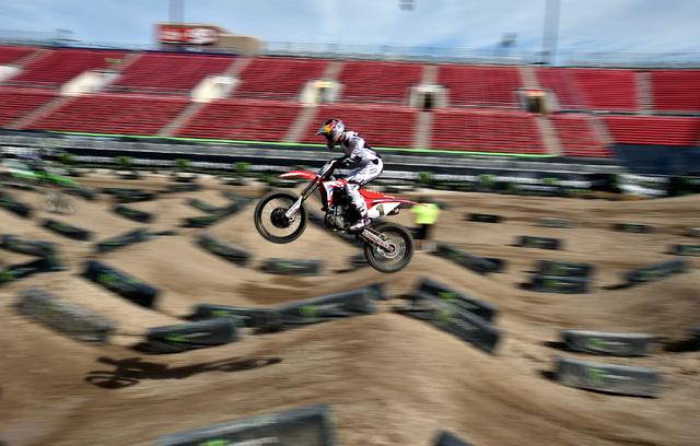 Super cross rider Ken Rochen flies high over the dirt track at Sam Boyd Stadium following a news conference Friday, Oct. 14, 2016, in Las Vegas. David Becker/Las Vegas Review-Journal Follow @david ...