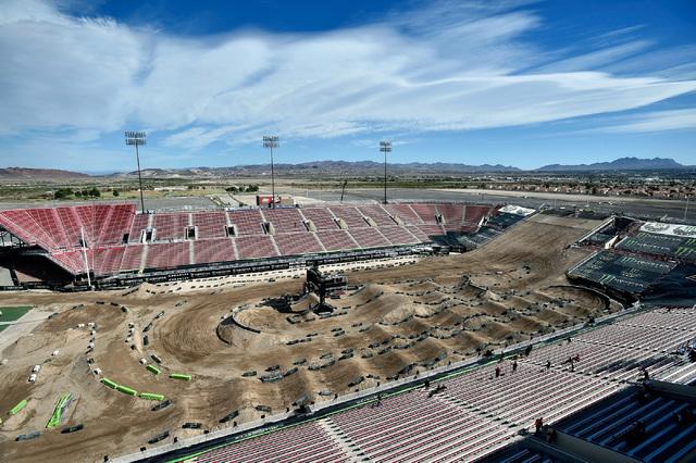 Super cross riders traverse the dirt track at Sam Boyd Stadium after a news conference Friday, Oct. 14, 2016, in Las Vegas. David Becker/Las Vegas Review-Journal Follow @davidjaybecker