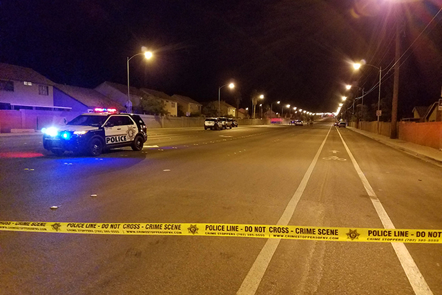 Three teenagers were wounded after being shot Monday night in the 6300 block of Carey Avenue. (Mike Shoro/Las Vegas Review-Journal)