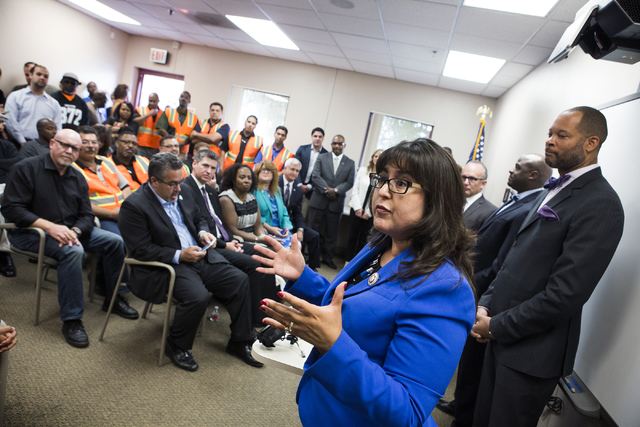 Assemblywoman Irene Bustamante Adams speaks during a news conference discussing benefits for employment at the stadium project, Thursday, Oct. 27, 2016, at the Urban Chamber of Commerce in North L ...