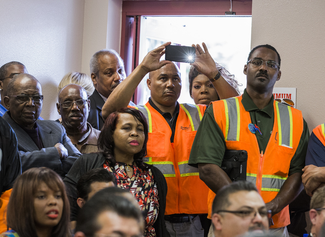 People listen during a news conference discussing  benefits for employment at the stadium project, Thursday, Oct. 27, 2016, at the Urban Chamber of Commerce in North Las Vegas. Over 50 people atte ...