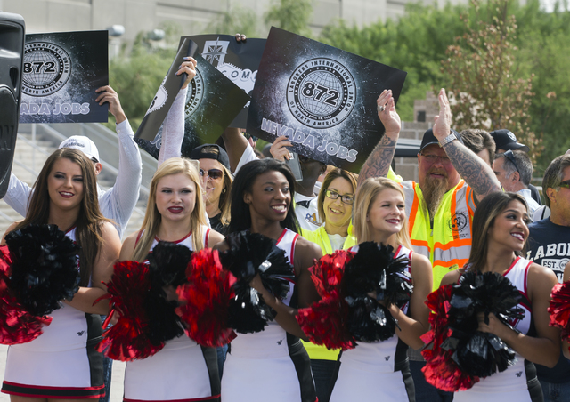 UNLV cheerleaders and supporters of the $1.9 billion, 65,000-seat domed stadium during a rally Monday, Oct. 3, 2016, at Thomas and Mack Center.  (Jeff Scheid/Las Vegas Review-Journal) Follow @jeff ...
