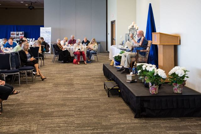 Author Richard Rohr speaks to a crowd on Sept. 10 at Bishop Gorman High School. (Special to View)