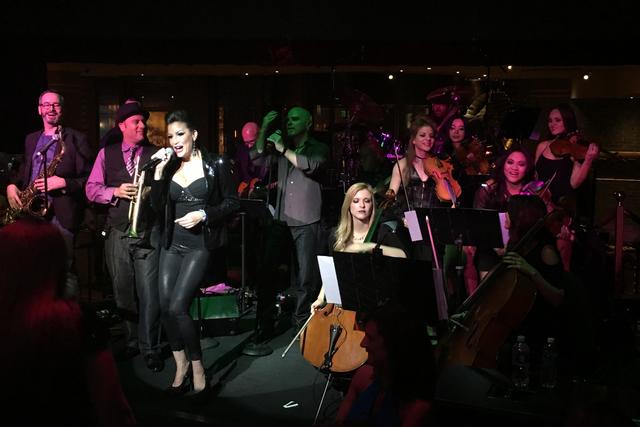 The lineup of David Perrico's Pop Strings during its opening show Saturday night at Cleopatra's Barge at Caesars Palace. (John Katsilometes photo)