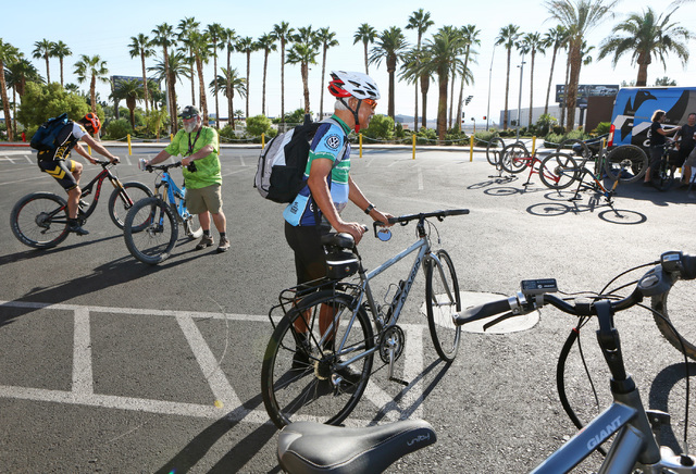 Cyclists Richard Hulskamp, center, of Las Vegas, and Ben Webb, second from left, of Anna Maria Island, Fla., wait to start the sixth annual Ride for Reading event Sept. 22, 2016. Ronda Churchill/View